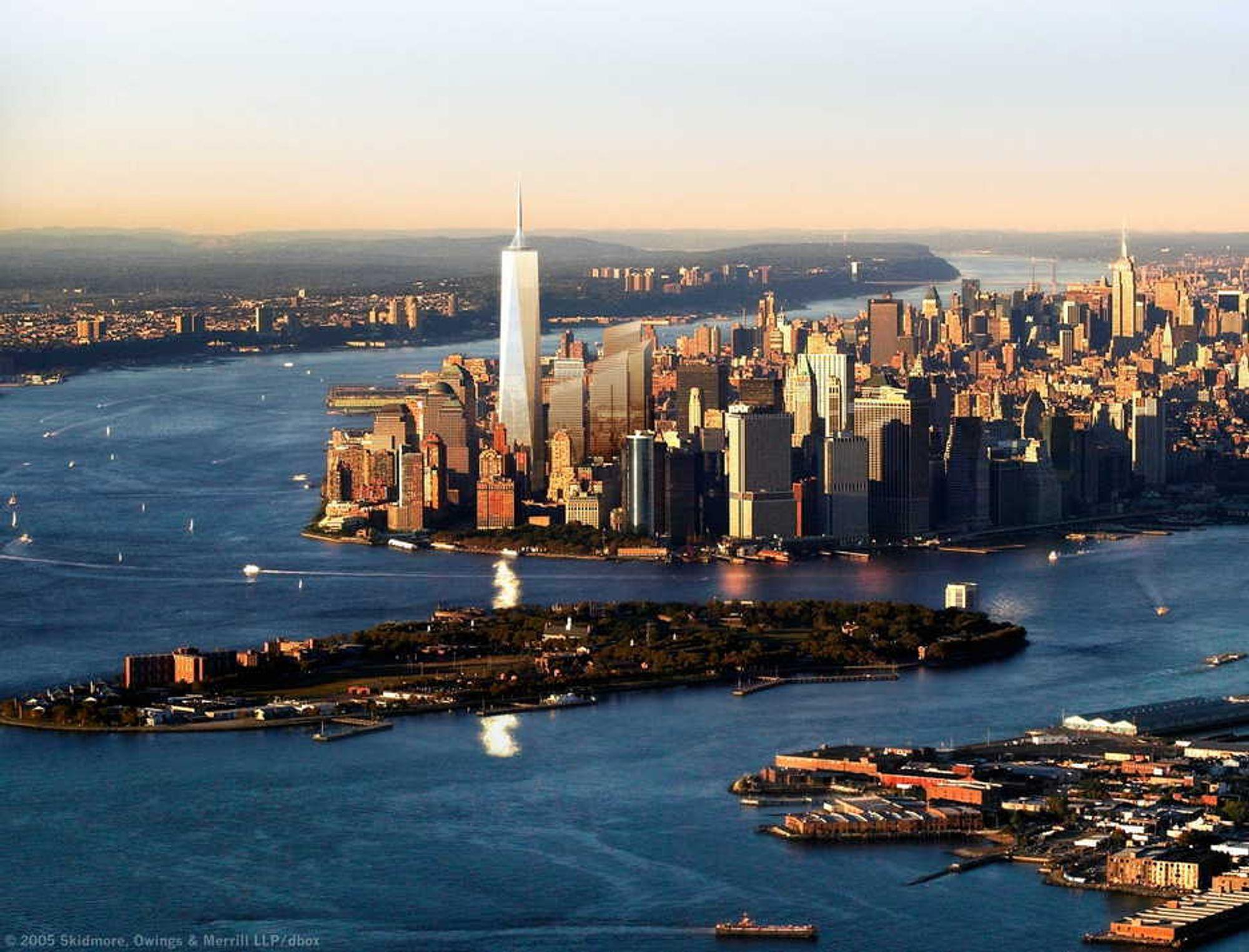Illustrasjon av Freedom Tower fra Jersey-siden.