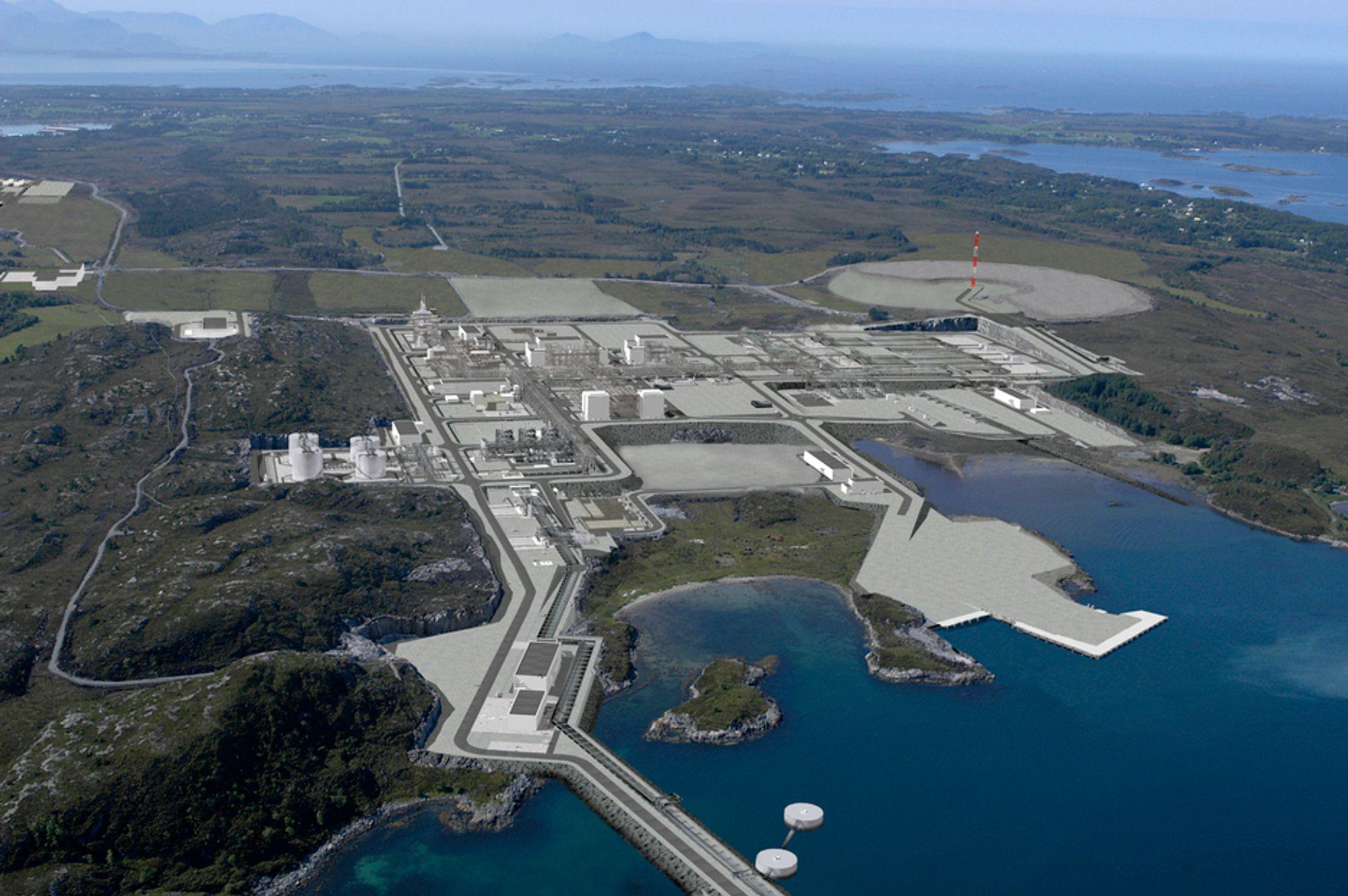 Nyhamna i Aukra kommune. Det var her i tilknytning til Ormen Lange-anlegget gasskraftanlegget var planlagt.