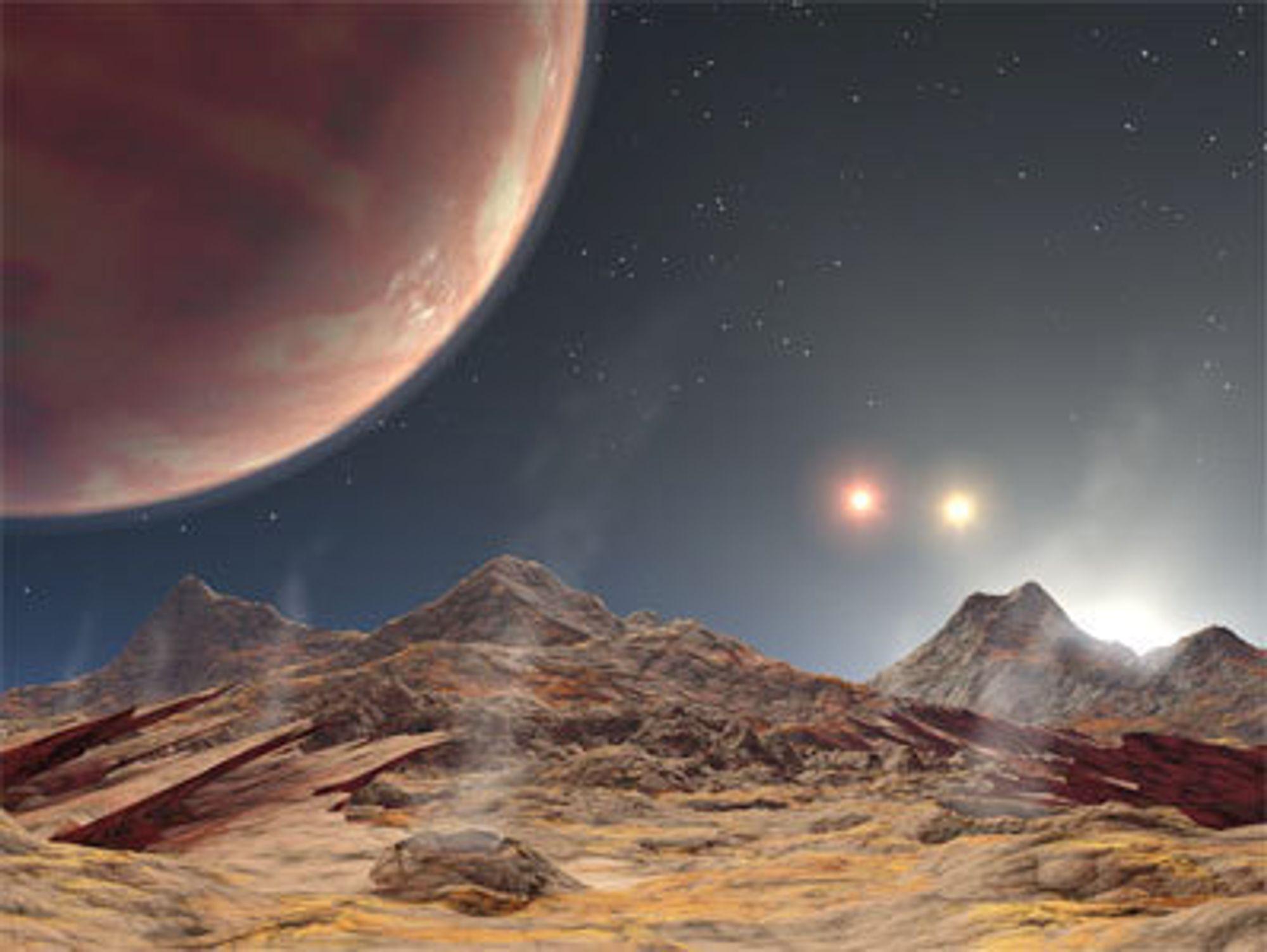 Planeten med de tre soler, sett fra en tenkt måne i bane rundt planeten. To soler sees klart, mens den tredje er på vei opp til høyre.