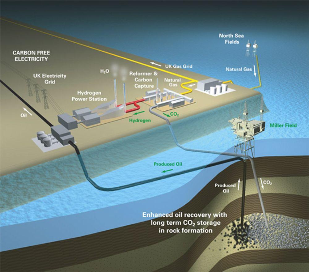 BP vil separere hydrogen og CO2 fra naturgass. hydrogen går til ren energiproduskjo n iet grasskraftverk, mens CO2 komprimeres og sendes i rør og ned i Miller-feltet.