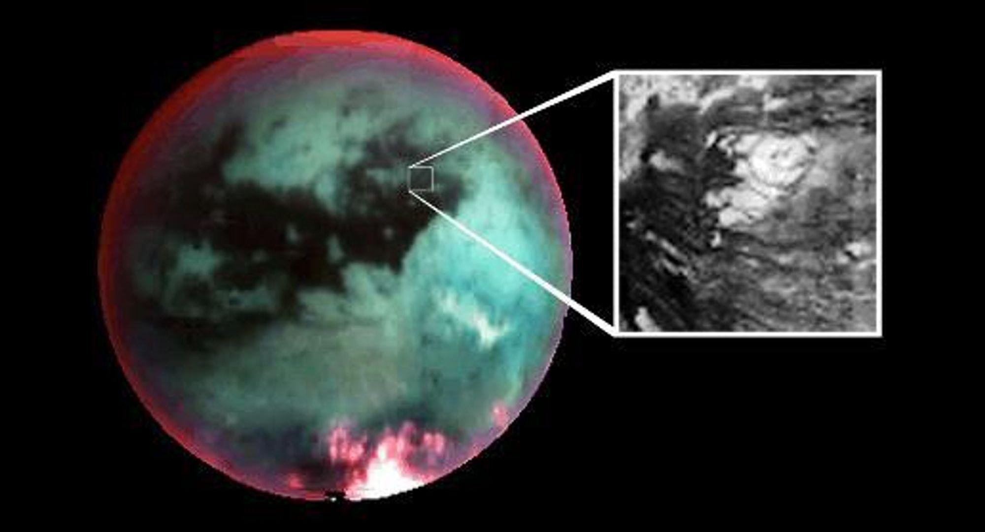 IS: Forskerne som studerer bildene fra Titan er kommet fram til at bildet mest sannsynlig viser en isvulkan på Titan.