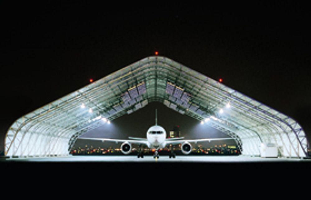 Slik så hangaren som aviset flyene ved hjelp av varmestråler ut. Nå går SAS Ground Services tilbake til glykolavising.