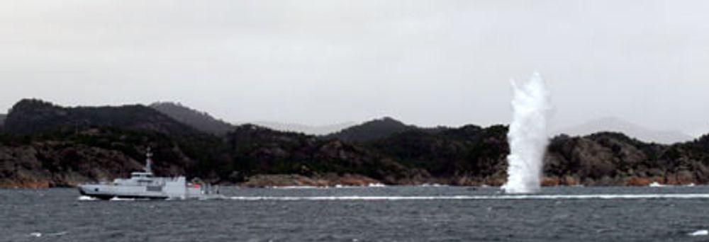 SPRENGER: Ny norsk teknologi gjør minesveipere langt mer effektive Den tas nå i bruk i Nato. FOTO: SJØFORSVARET