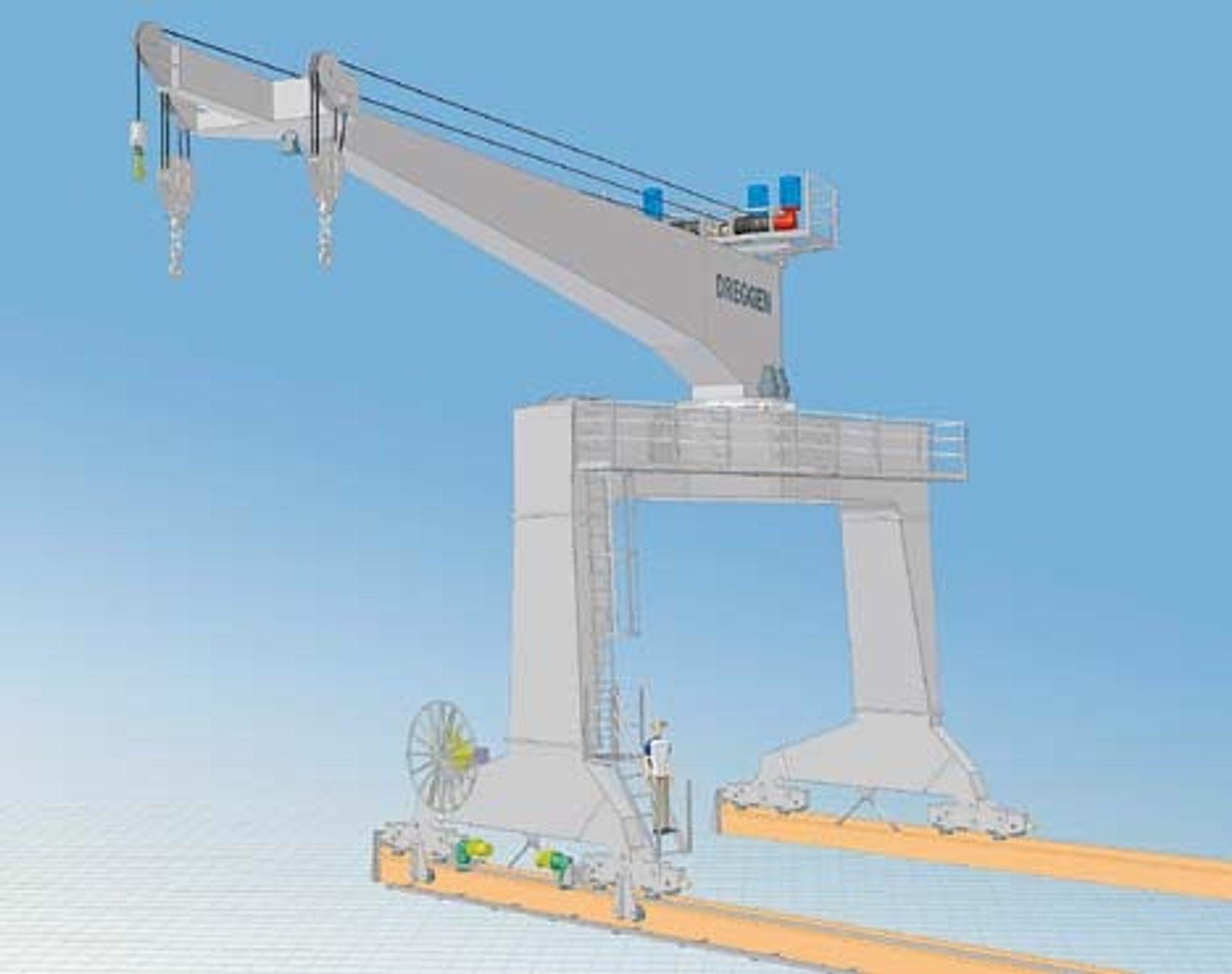 GRAVER: Norske Dreggen Crane skal utstyre to kinesiskbygde lektere med spesialkraner for seks millioner kroner. TEGNING DREGGEN CRANE