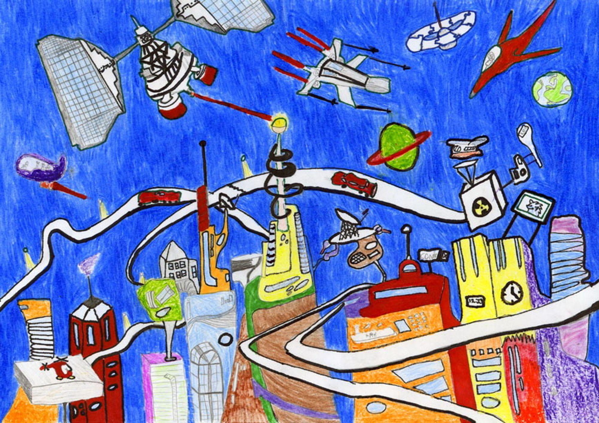 Vinnertegning i Living in Space-konkurransen 2004. Sondre Tømmervolds bildetekst: Dette er Sibbern by en vårdag i 3004. Her er det full aktivitet og masse liv. ILLUSTRASJON: Sondre Tømmervold