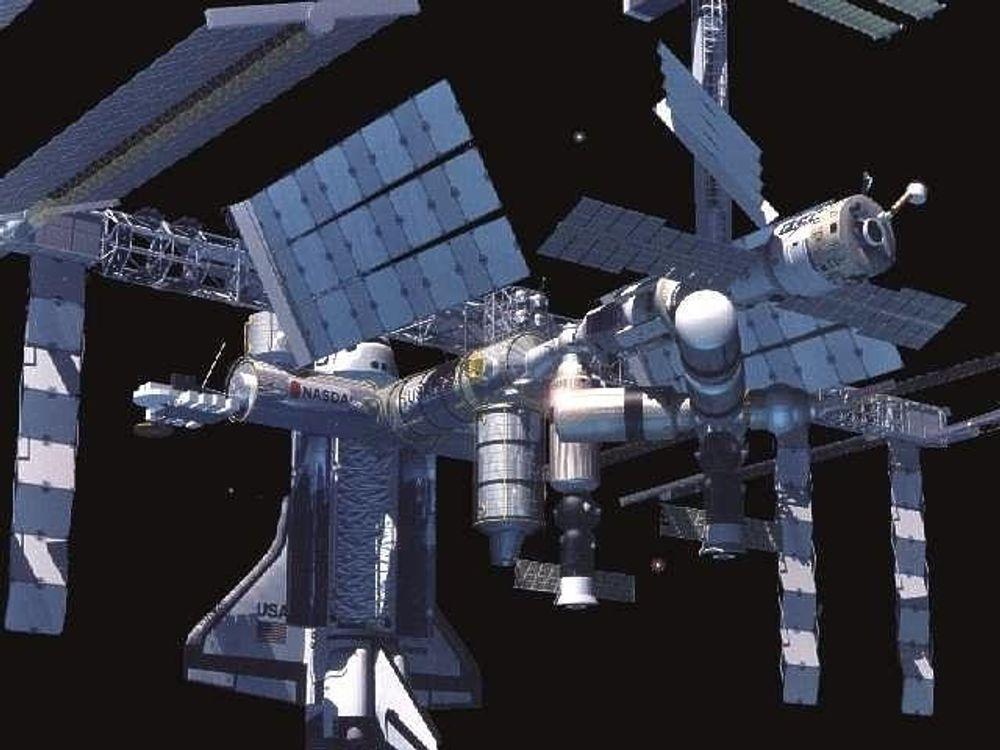 DOKKING: I desember kan du se dette på TV: Da dokker den første romfergen på to år, med den internasjonale romstasjonen ISS. FOTO: NASA