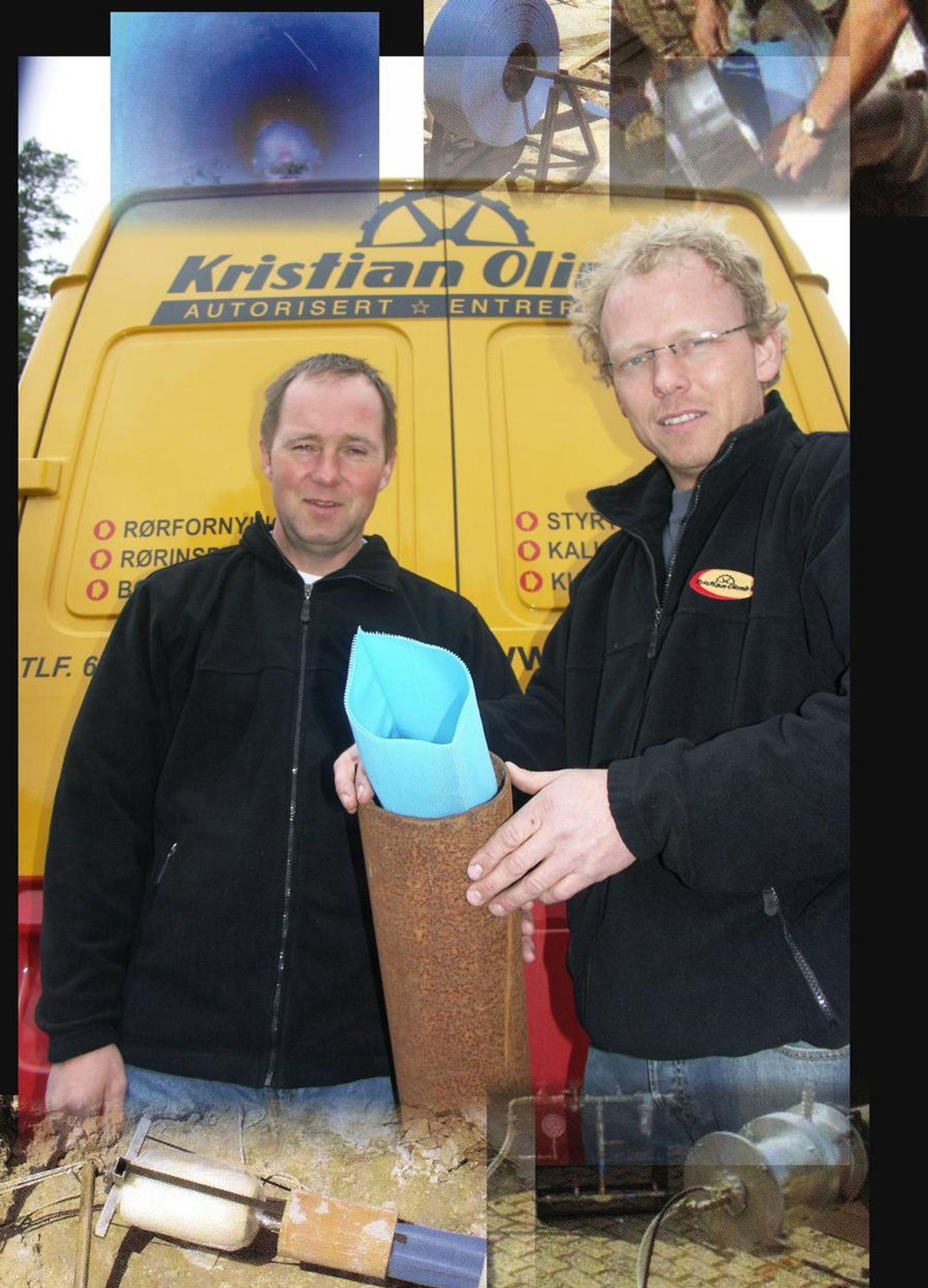 OPTIMISTER: Daglig leder Tor-Erik Olimb (til venstre) og avdelingsleder rehabilitering, Svein Rune Myhre, er klar til å presentere en helt ny foring for rehabilitering av vannledningsnettet i Norge.