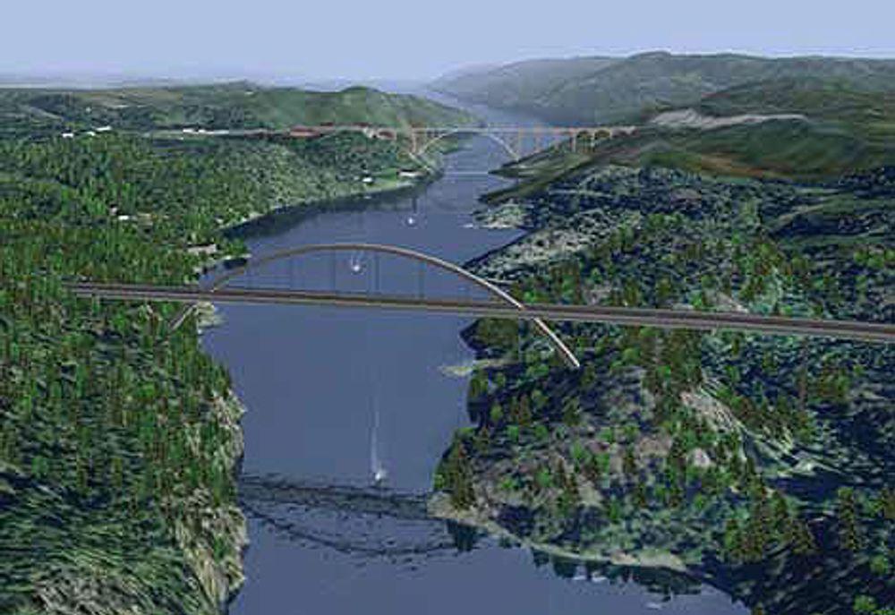 En av 3D-presentasjonene av den nye Svinesund-brua. Ill: statens Vegvesen Østfold