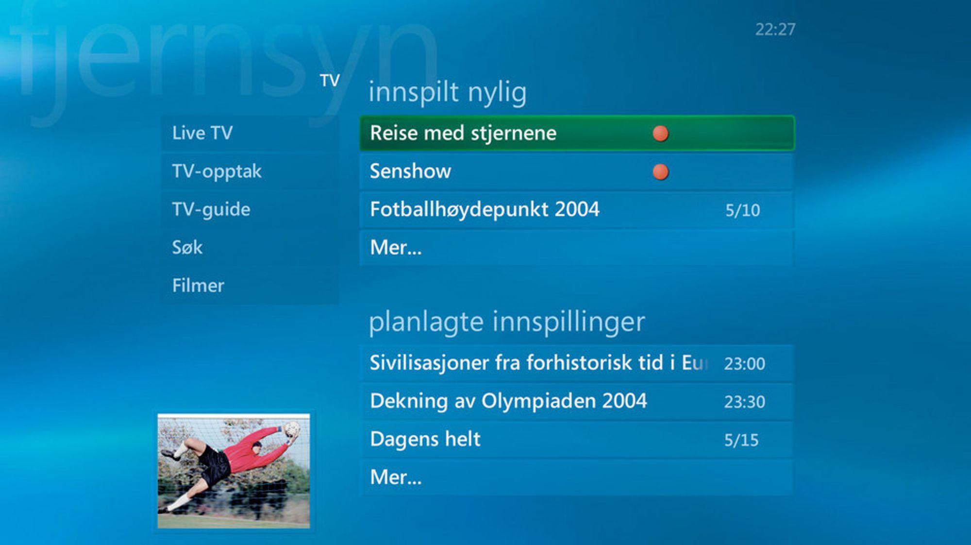 DIN NYE TV:Slik blir grensesnittet på din nye TV-hverdag om du velger en stue-PC med den nye norske utgaven av Windows XP Media Center Edition 2005.