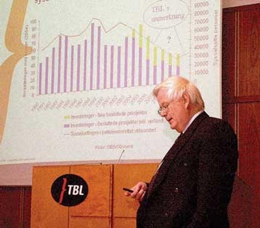 BEKYMRET: - Fallet i investeringene på sokkelen i 2006 - 07 må kompenseres med økt eksport. Vi må ha lav rente og stabil valuta, sier TBL-sejf Karl Nysterud. Foto: Anders J. Steensen