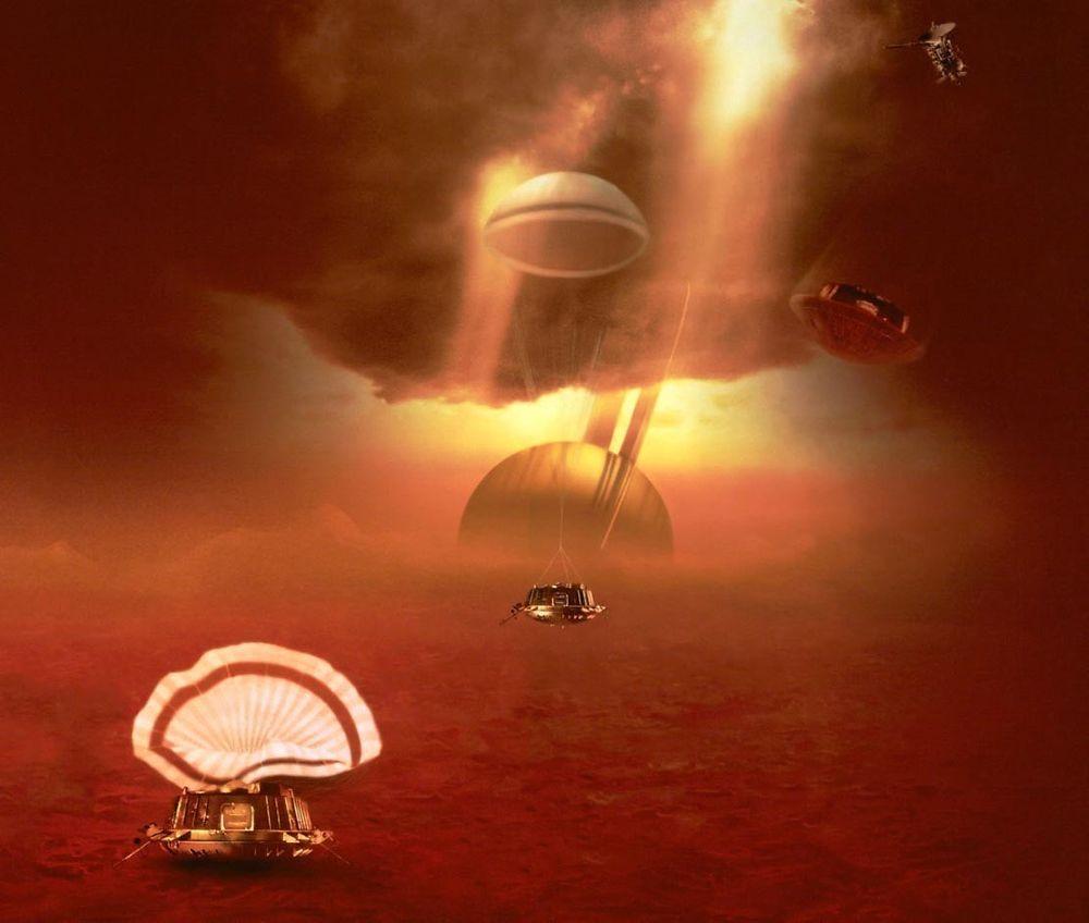 Huygens, slik den forhåpentlig landet tidligere i dag, nærmere bestem kl. 13.34, fredag 14. januar 2005. Ill: NASA/ESA