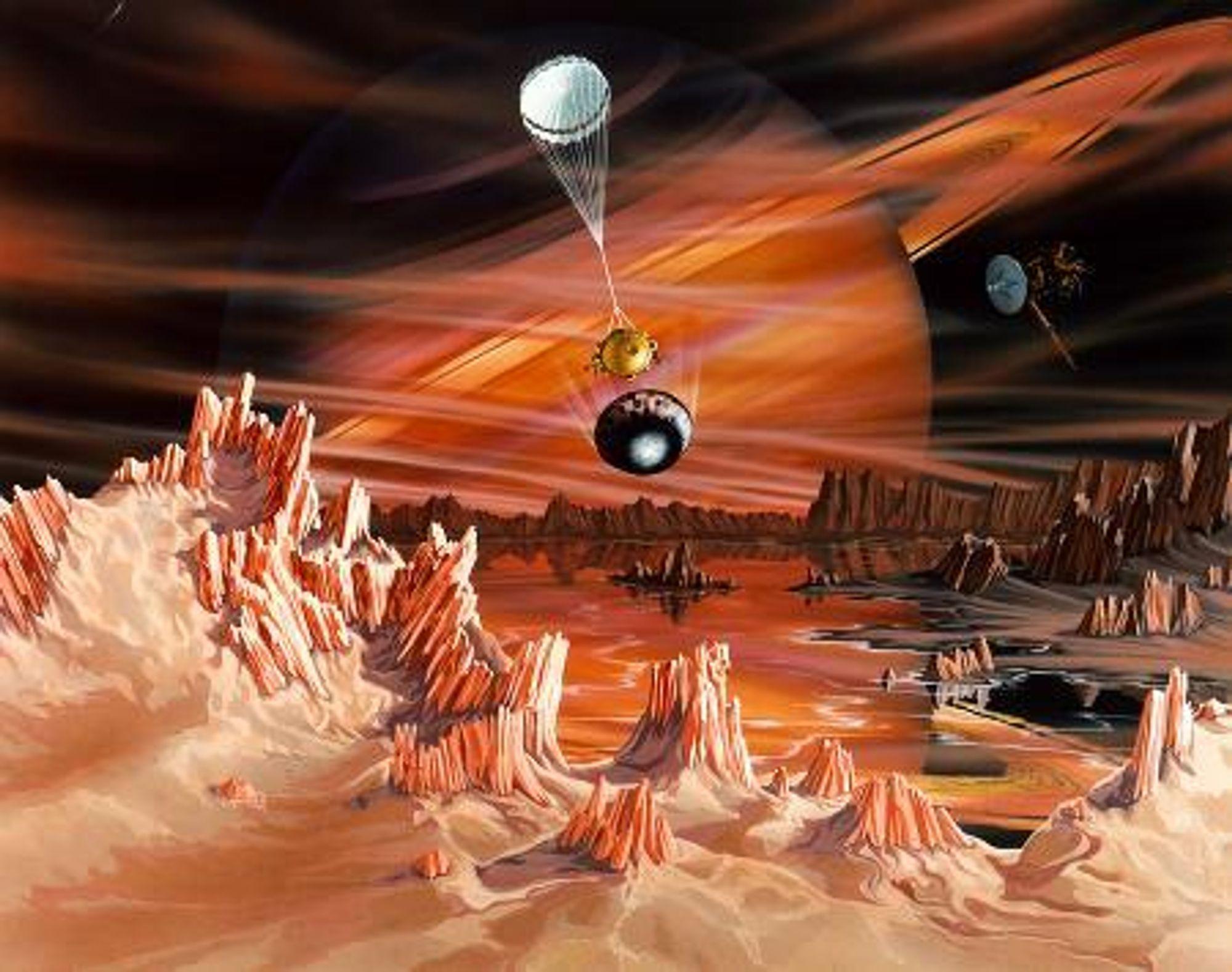 Illustrasjon av Huygens-modulen som skal undersøke oveflaten og atmosfæren på Saturns måne Titan. Cassini ses til høyre for Saturn på bildet.  Ill: NASA/JPL
