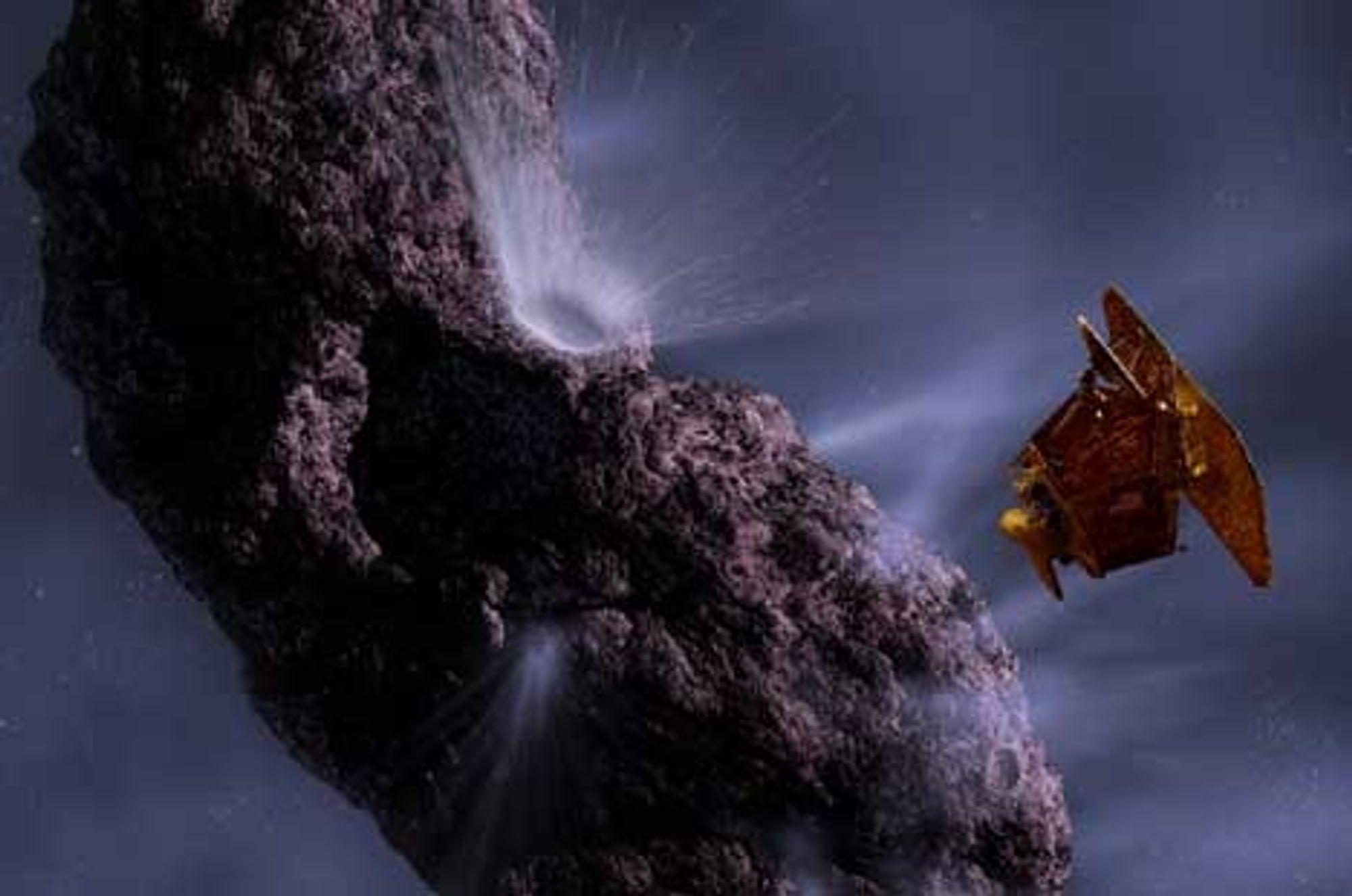 Kunstneren Pat Rawlings ser for seg Deep Impacts kollisjon med kometen Temple 1 på denne måten. Kollisjonen skjer 4. juli i år. Ill: Pat Rawlings/NASA