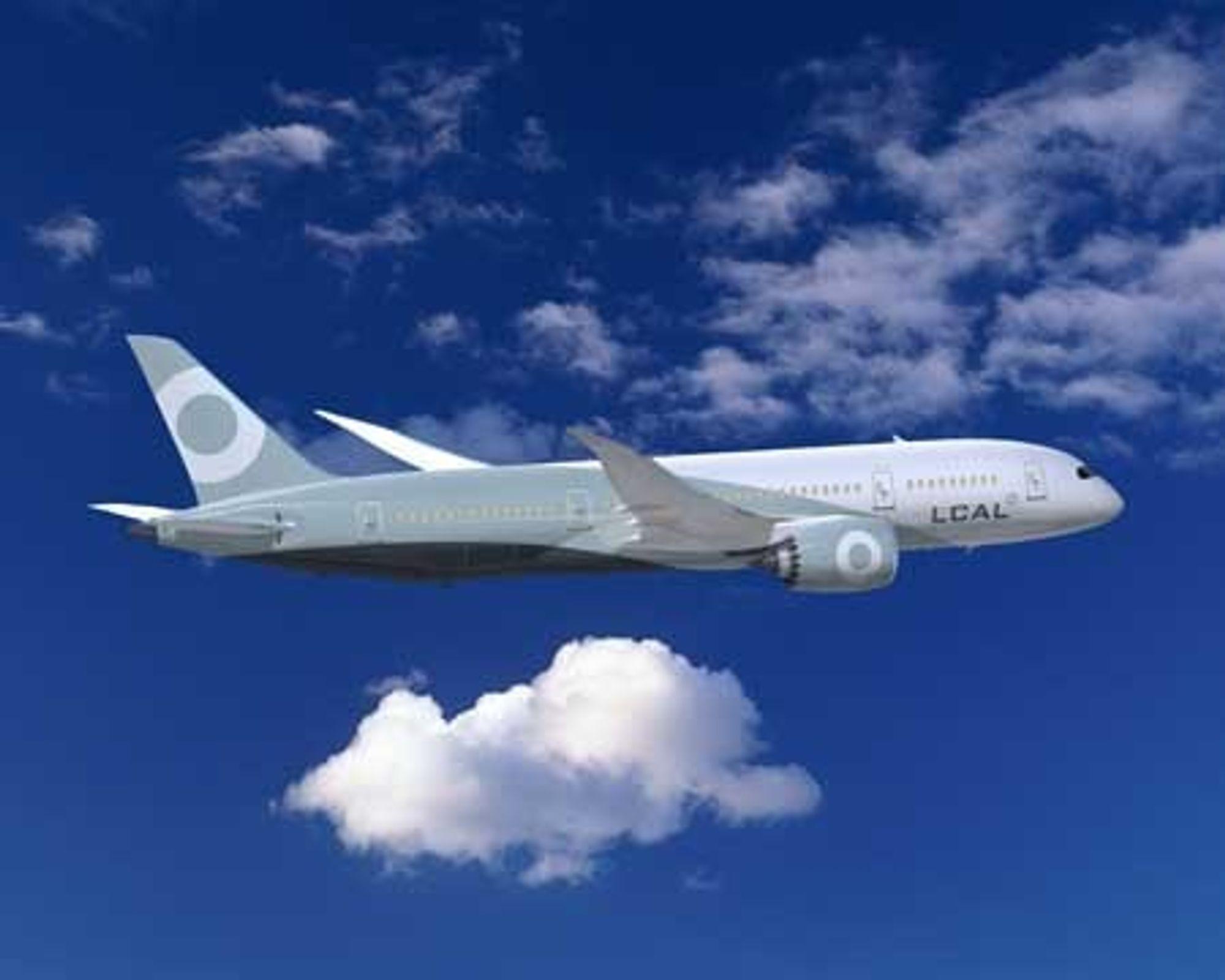 """TAR AV: Nå tar Boeings nye """"plastmaskin"""" 787 Dreamliner av for fullt. De første flyene vil være i lufta fra 2010 og en rekke flyselskap har meldt interesse for langdistansemaskinen som tar 250 passasjerer."""