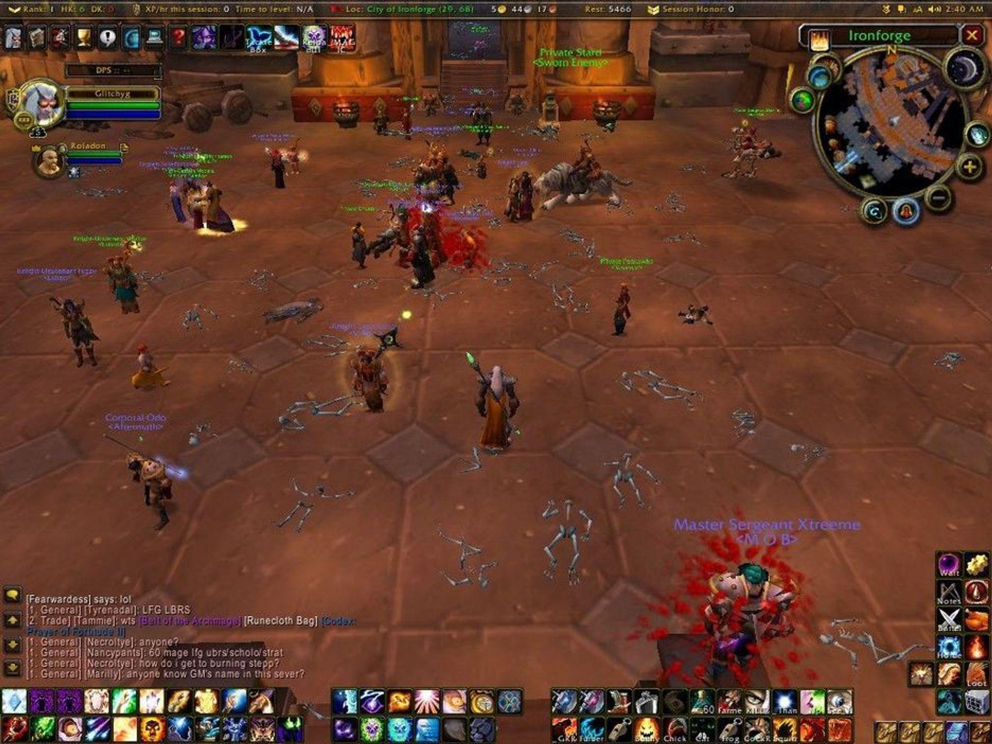LIK: Blodet til Hakkar utløste pest i World of Warcraft. Flere tusen spillere døde etter få sekunder. Dette bildet er et skjermbilde tatt av en spiller og viser likene slik det så ut.