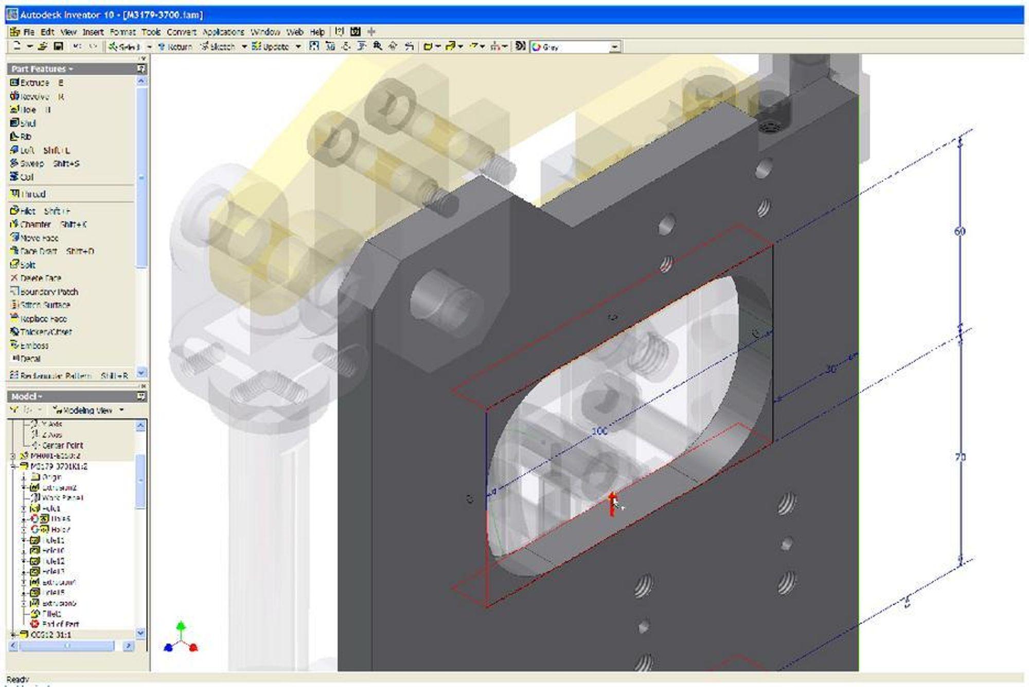 HÅNDTAK: Grips Edit er en rask og fleksibel måte for å redigere parametriske deler i nye Inventor 10. Nye 3D-håndtak (grips) gjør konstruksjonsendringer raskere med intuitiv skisse- og modellredigering. Det er bare å velge et håndtak og dra.ILL: AUTODESK