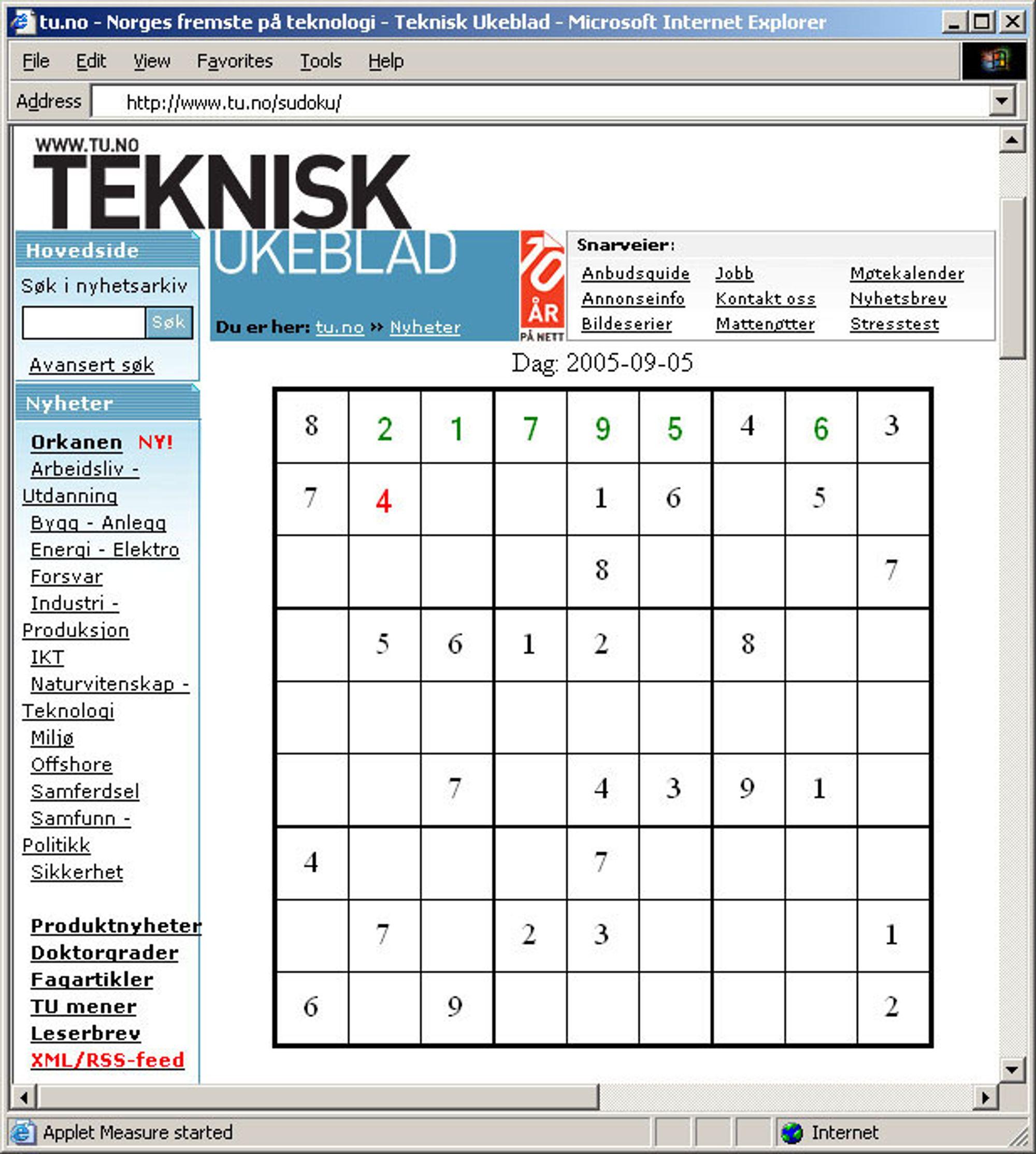 Spill Sudoku på www.tu.no!