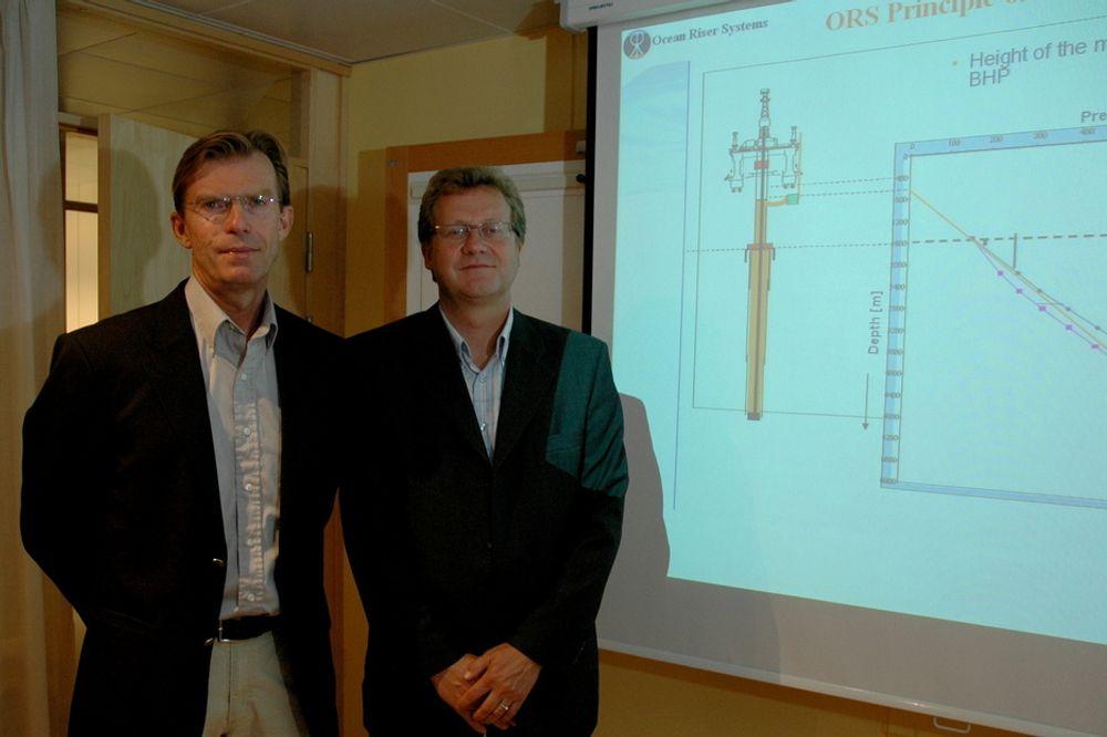 BEDRE KONTROLL: Børre Fossli og Fredrik Hvistendahl vil modernisere brønnkontrollen. - Dette vil bedre utvinningsgraden, sier de.