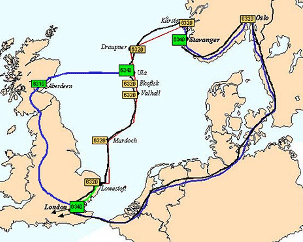 RASKESTE VEI: Skal man kommunisere mellom for eksempel Stavanger og Aberdeen, går den desidert raskeste forbindelsen via fiber i Nordsjøen.