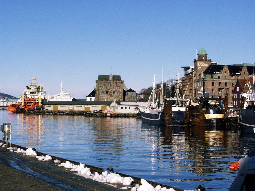 PREGER VÅGEN: Oljeindustriens forsyningsskip har en sentral plass i Bergens bybilde.