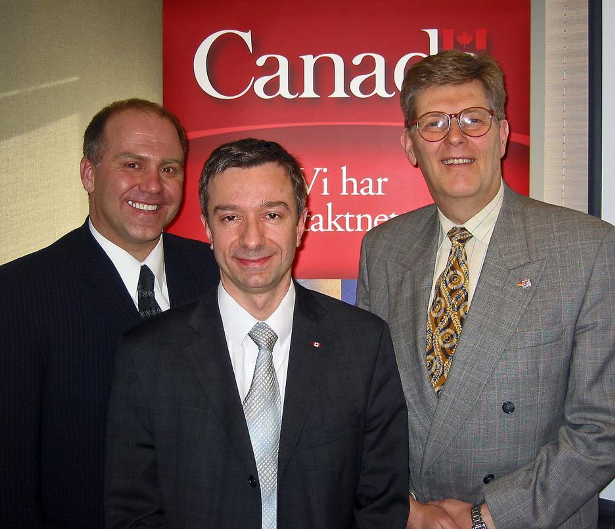 SØKER KONTAKT:Jean Léger (t.v.), Thierry Weissenburger og Johannes S. Larsen fra det canandiske forskningsrådet vil skape kontakt mellom norske og canadiske små og mellomstore bedrifter.