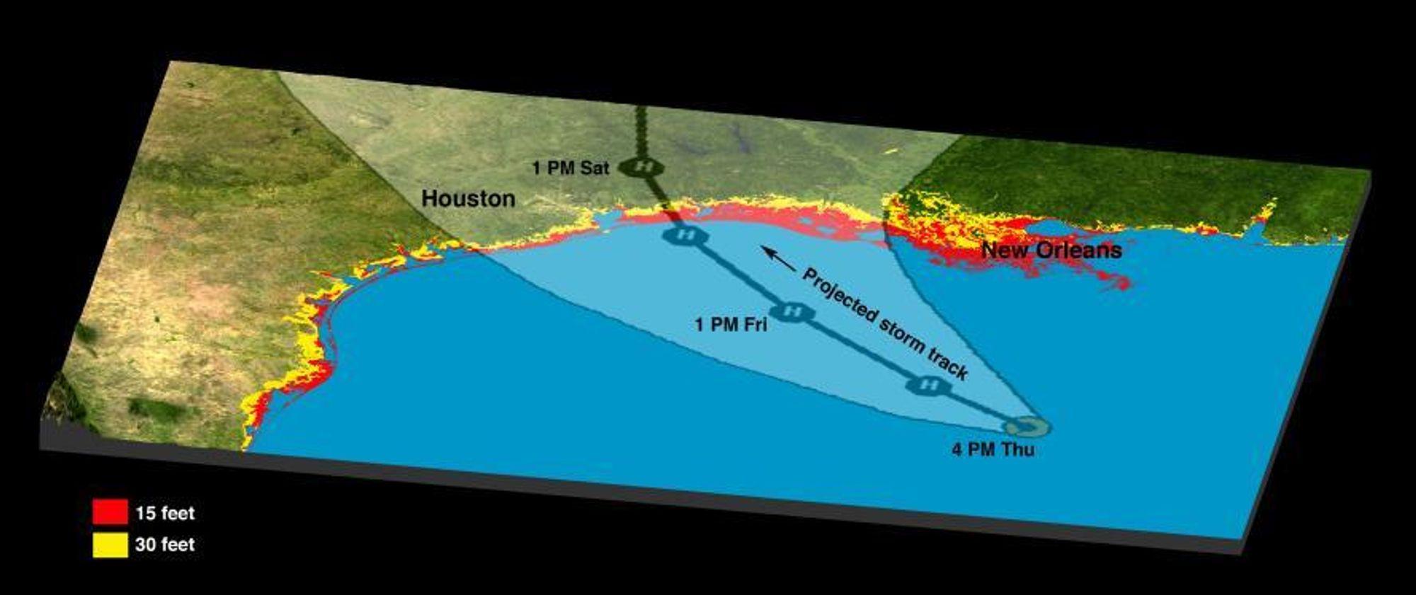 De røde feltene viser hvor vannstanden antas å komme opp i fem meter over normalen, mens de gule områdene viser hvor vannet kan stige så mye som 10 meter.