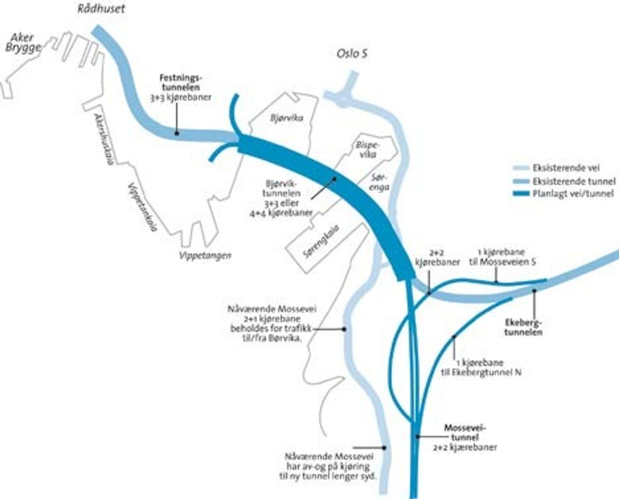 Kart illustrasjon over veisystemet i og rundt Bjørvika - planlagt og ønsket.