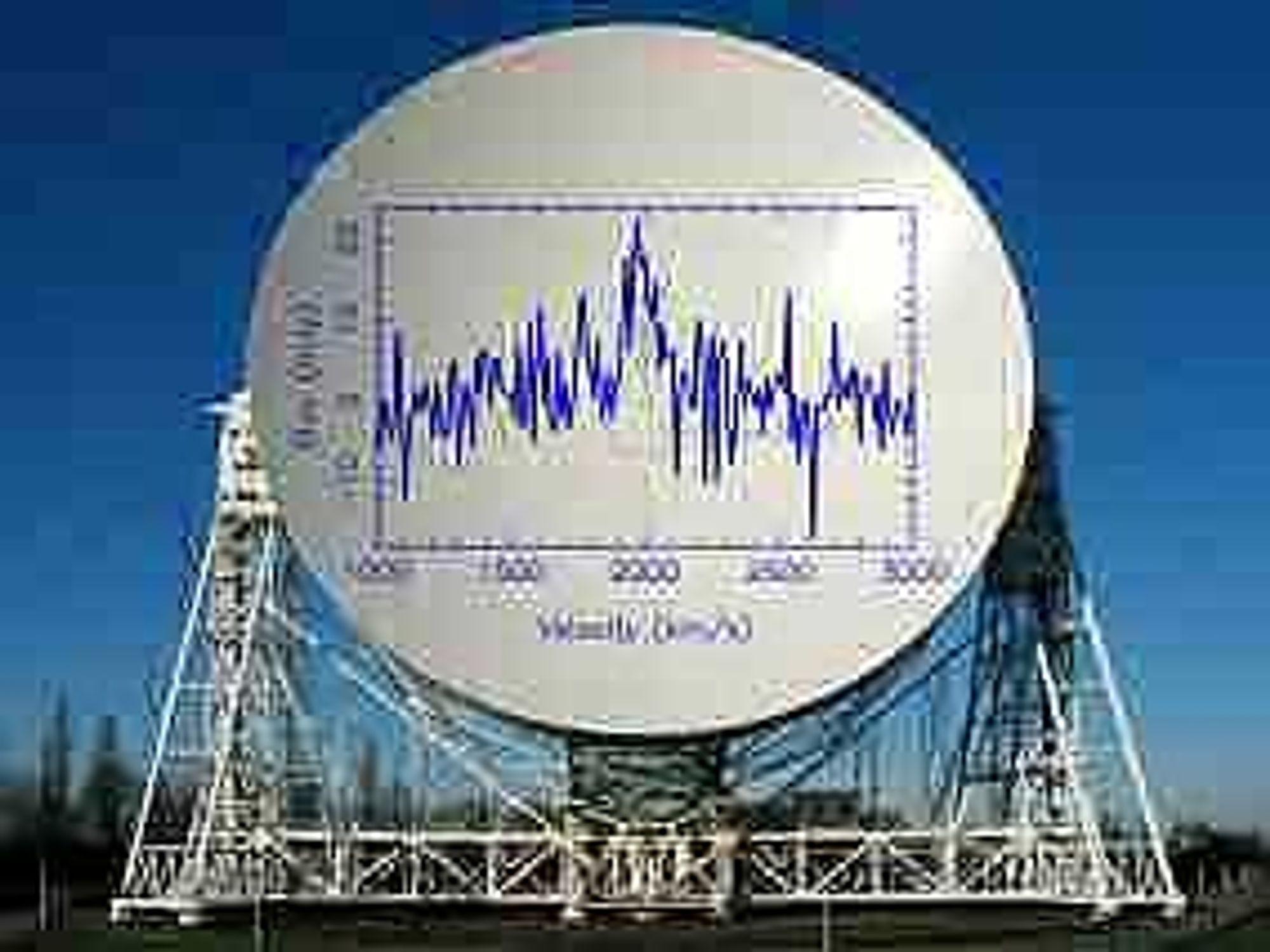 Det enorme radioteleskopet Jodrell i Manchester har gjort vår første oppdagelse av en mørk galakse. Foto: Jodrell
