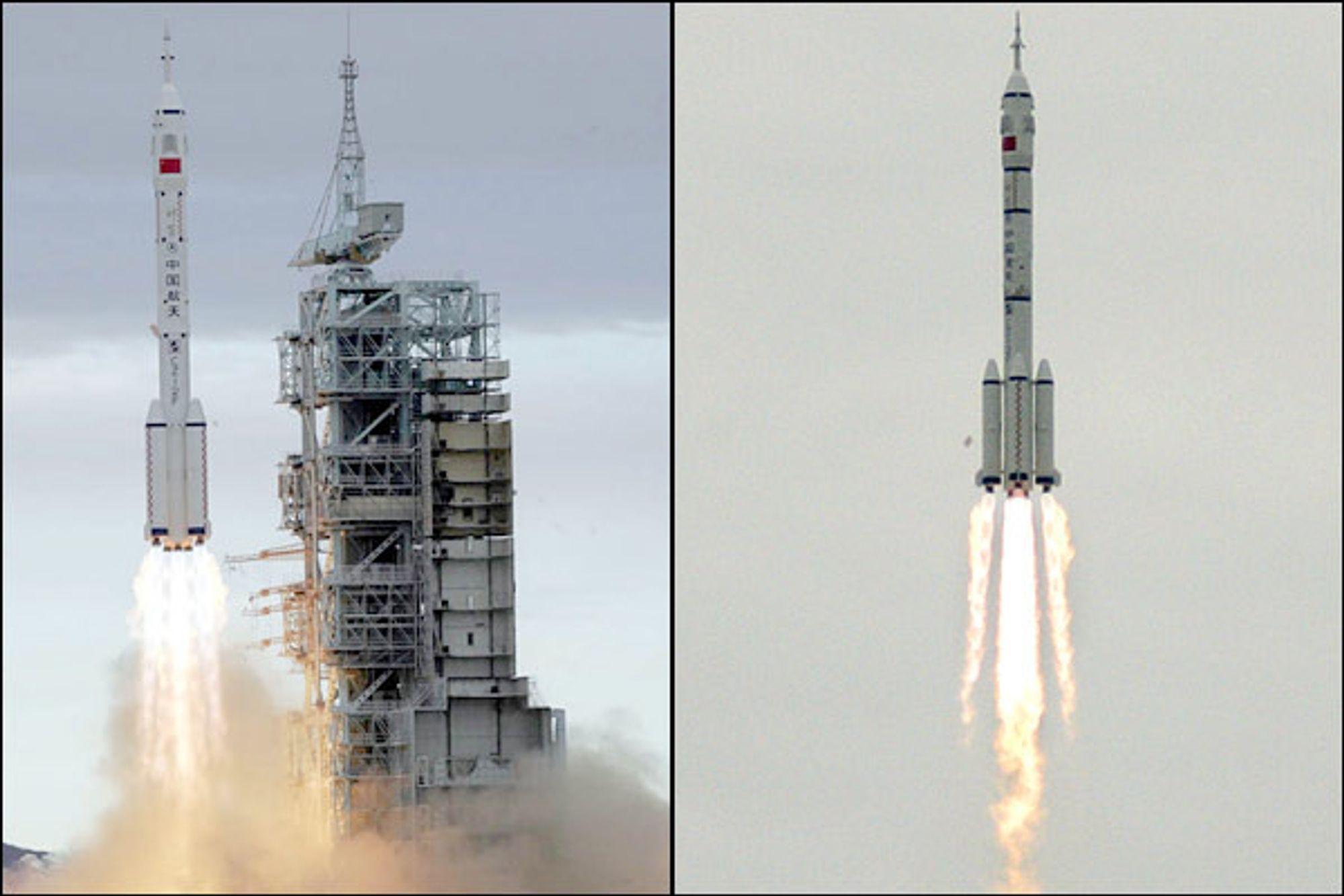 Romkapselen Shenzhou 6 på toppen av en Long March 2F rakett ble skutt opp fra basen i Gobi-ørkenen klokka 9 onsdag morgen, lokal tid. Dette er kinas andre bemannede romferd.