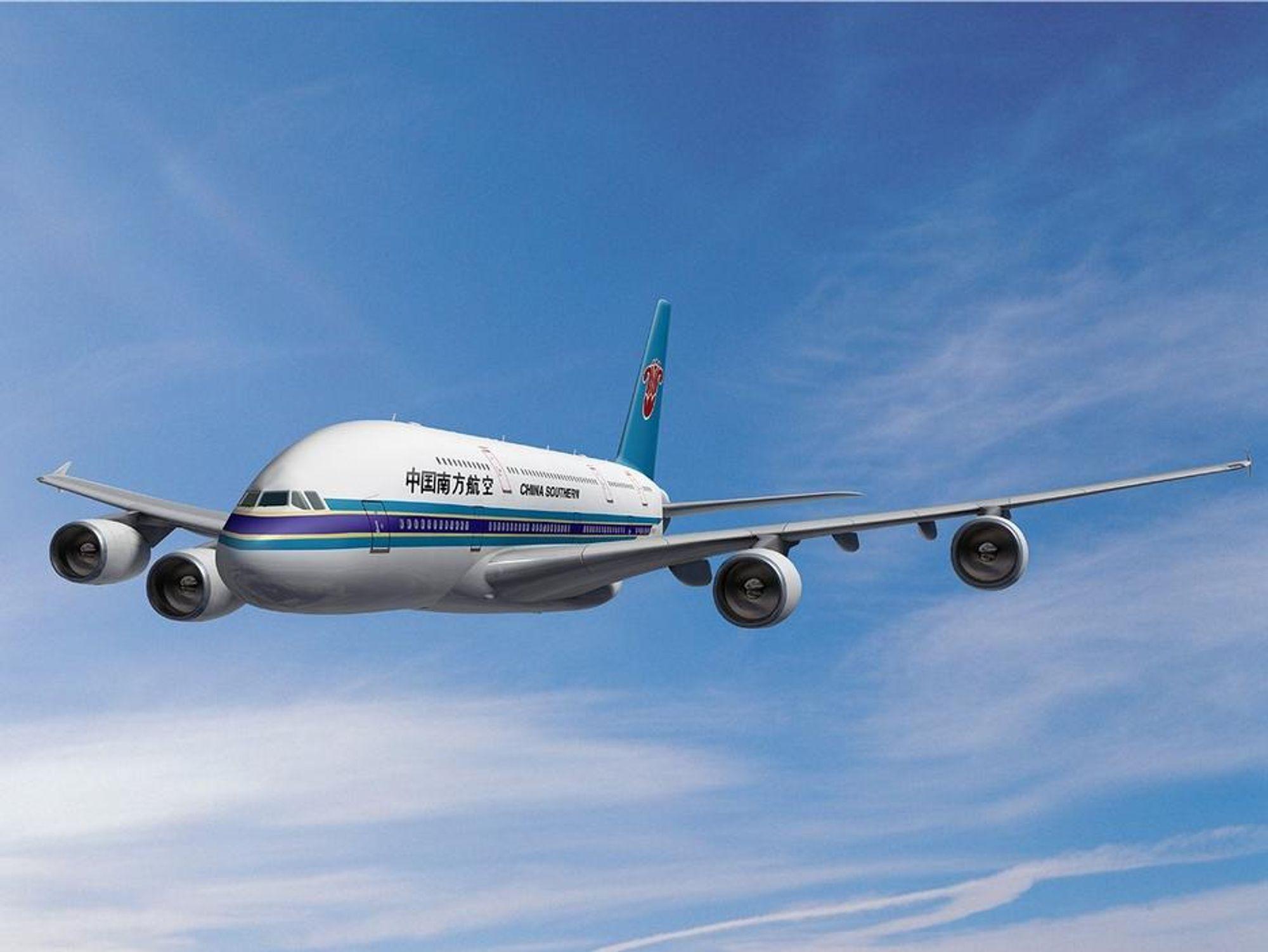 FEM  KJEMPER: China East Airlines har nettopp bestilt fem gigantfly type Airbus A380. Den europeiske flyfabrikken går nå fra seier til seier og den nye kinesiske totalordren på til sammen tretti nye fly er verd svært mye, ikke minst målt i prestisje. ILLUSTRASJON AIRBUS
