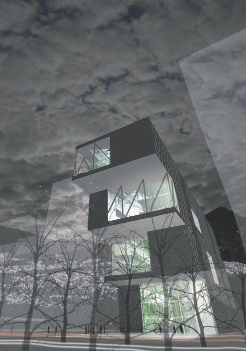 SPENSTIG: Med minst areal nederst som så vokser utover i de tre nederste etasjene klarer prosjektgruppen å nå 76kWh/m2år med et bygg kledd i naturgummi.