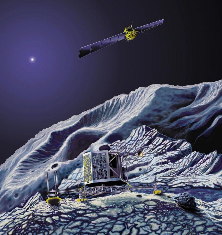 LANDER: Den europeiske romsonden Rosetta skal i november 2014 sende en lander ned på en stor komet og studere den. Femti selskap i Europa og USA står bak prosjektet, som styres av den europeiske romfartsorganisasjonen ESA. FOTO: ESA