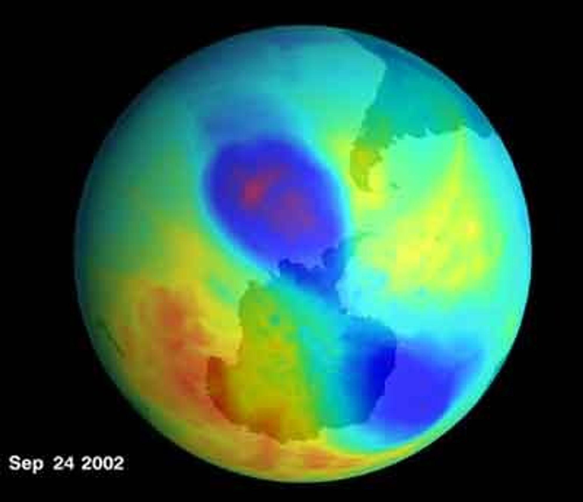 Ozon-hullet over Antaktis tettes og var i slutten av september på samme størrelse som for fire år siden.