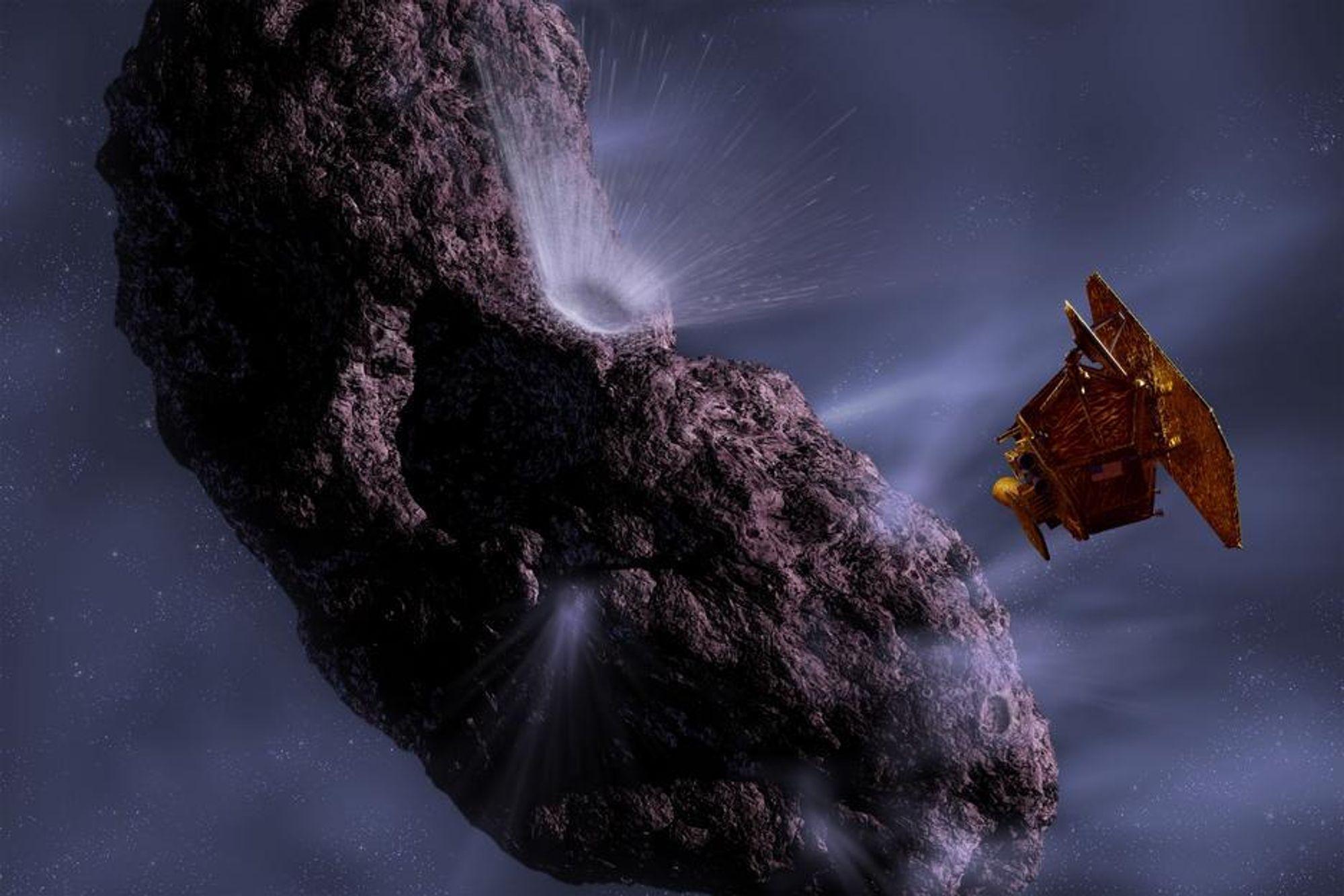 KJEMPESMELL: 4. juli 2005 sprengte Nasa et hull i kometen Tempel 1 med komethammeren Impactor fra sonden Deep Impact.