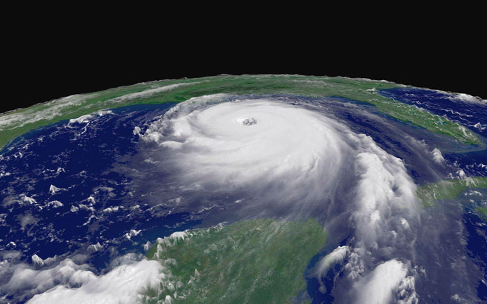 Satellittfoto av Katrina tatt 28. august da orkanen ble klassifisert som styrke 5.