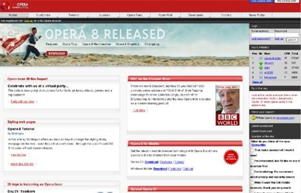 Skjermbilde fra Operas egen hjemmeside.
