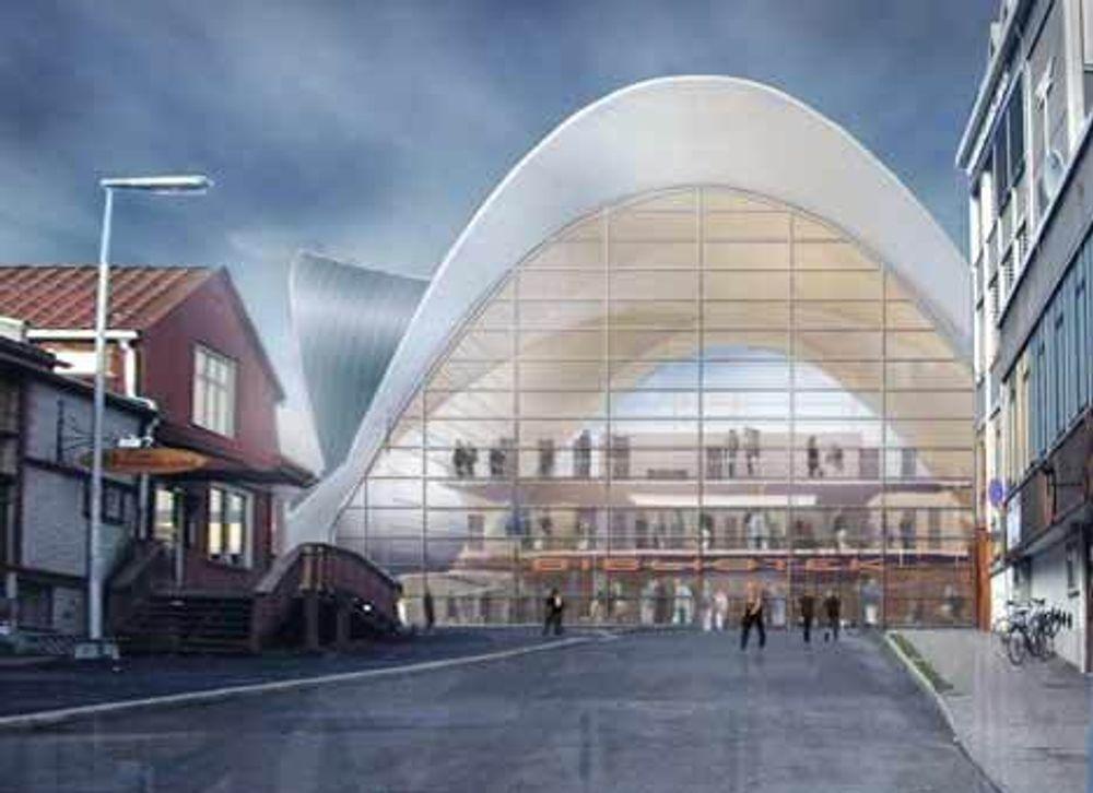 Bibliotek-inngangen føyer seg pent inn i Tromsø-arkitekturen.