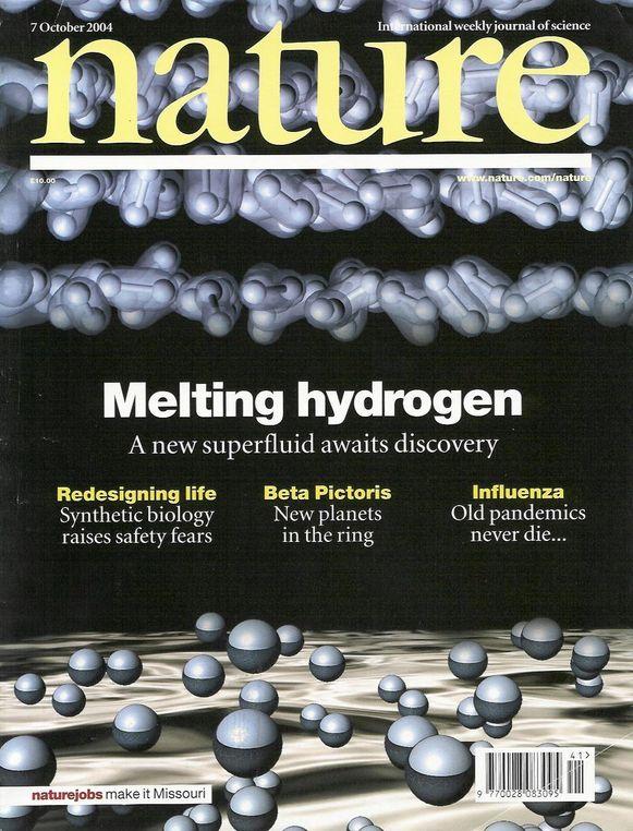 Forsiden av prestisjebbladet Nature fra oktober 2004 med artikkelen av blant andre professor Asle Sudbø.