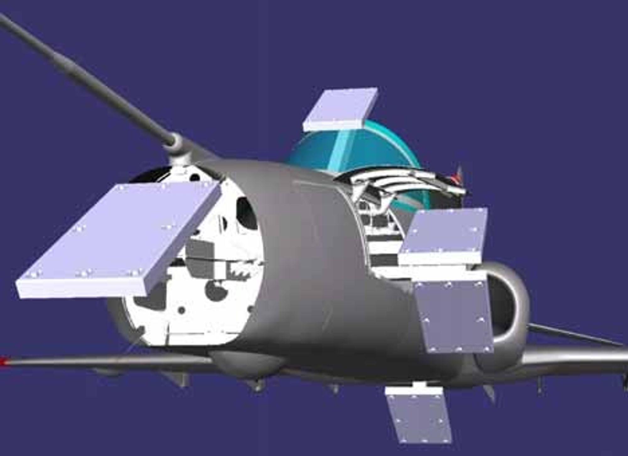 NORSK SUKSESS: Innmålingssystemet Harmolign er utviklet i Bærum og tas nå i bruk av samtlige verksteder som vedlikeholder det britiske trenings/kampflyet Hawk. ILLUSTRASJON: METRONOR
