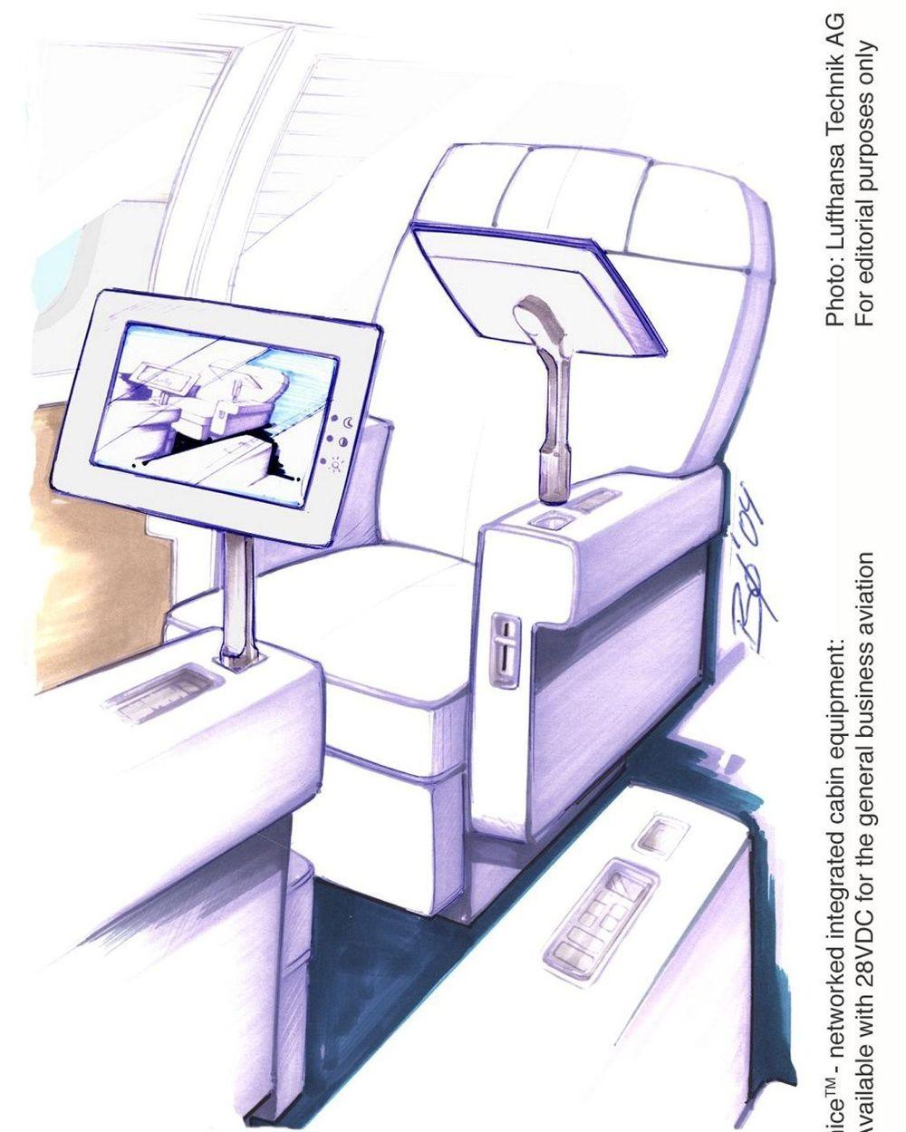 MULTIMEDIA: Det nye ombordsystemet som Lufthansa Technik utvikler skal bestå av en PCU (Passenger Control Unit) og et Plug-In Display PiD). FOTO: LUFTHANSA
