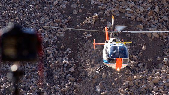 Testingen med BO 105-helikopteret ble gjennomført i et steinbrudd.