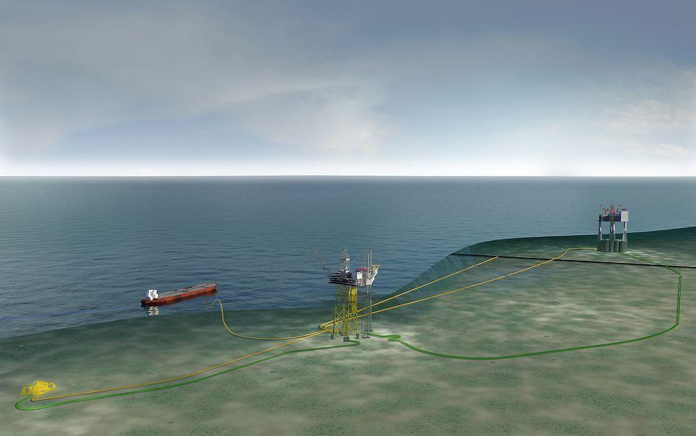 Omfattende: Gina Krog-feltet bygges ut med oljeeksport fra flytende lager to kilometer fra plattformen. Gassen eksporteres via Sleipner (i bakgrunnen). Subseainstallasjonen Eirin er knyttet til Gina Krog med et produksjonsrør.