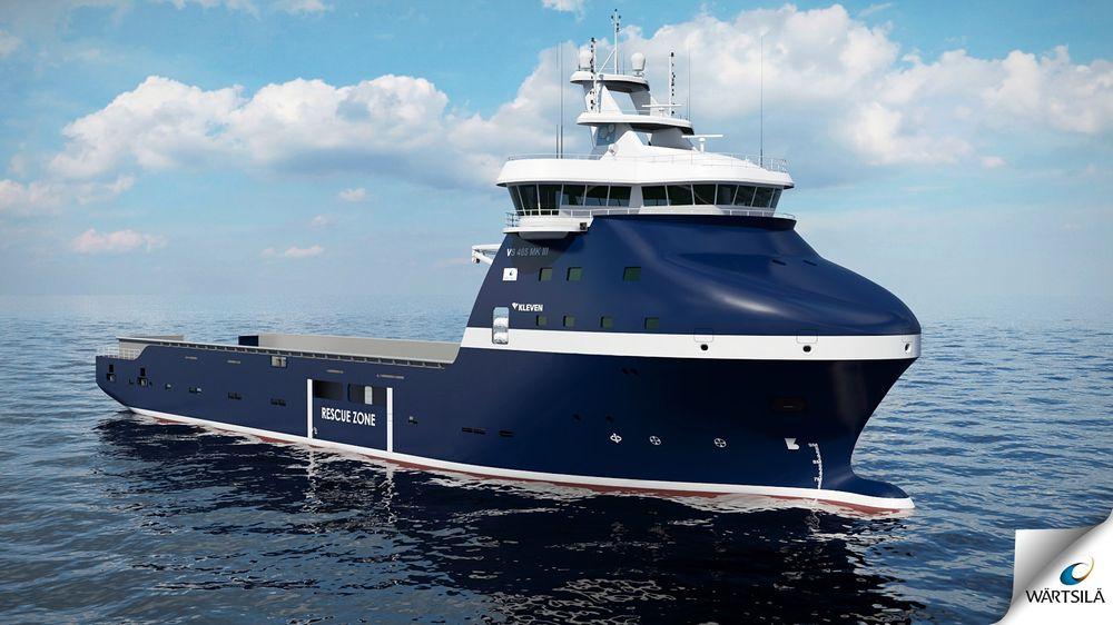 Vinterklar: Wärtsilä Ship Design står bak forsyningsskipstypen VS 485 MK III Arctic. Skipet blir 85,6 meter langt og 20 meter bredt og med 1000 kvadratmeter dekksareal..