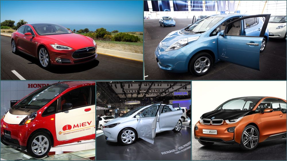 Her er elbilene som er testet av det tyske bilbladet. Foto: Tesla Motors / Stein Jarle Olsen / Wikimedia Commons / BMW