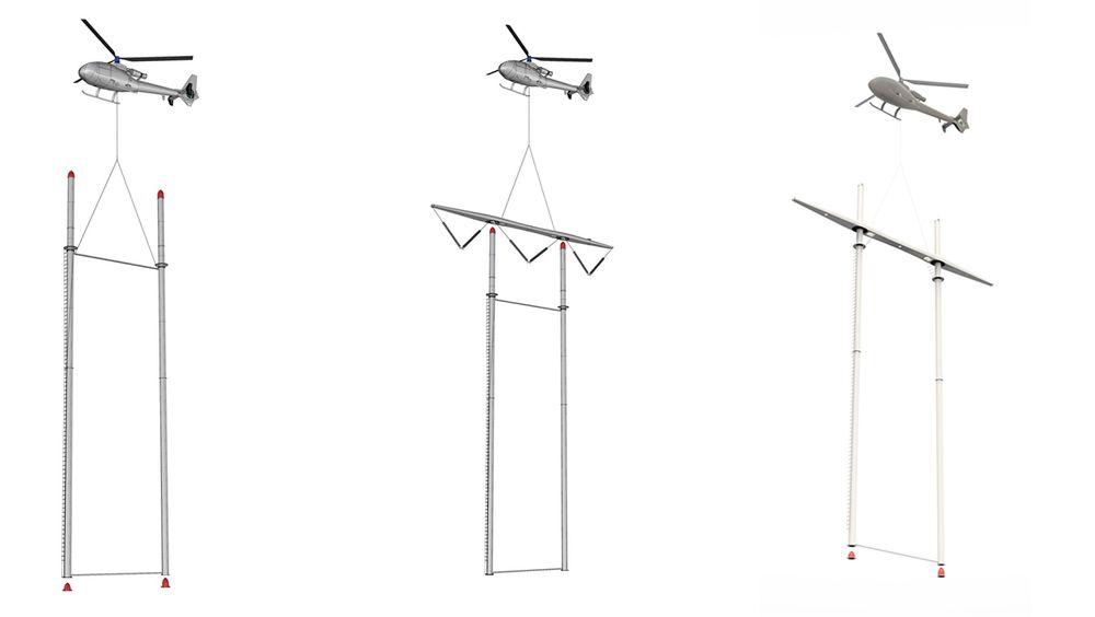 Statnett forsker på høyspentmaster i karbonfiberarmert komposittmateriale, for å kunne bygge krafttraseer mer effektivt og sikkert. I dag krever det 11-12 helikopterløft for å montere en høyspentmast. Lykkes Statnett vil antallet helikopterløft reduseres vesentlig.