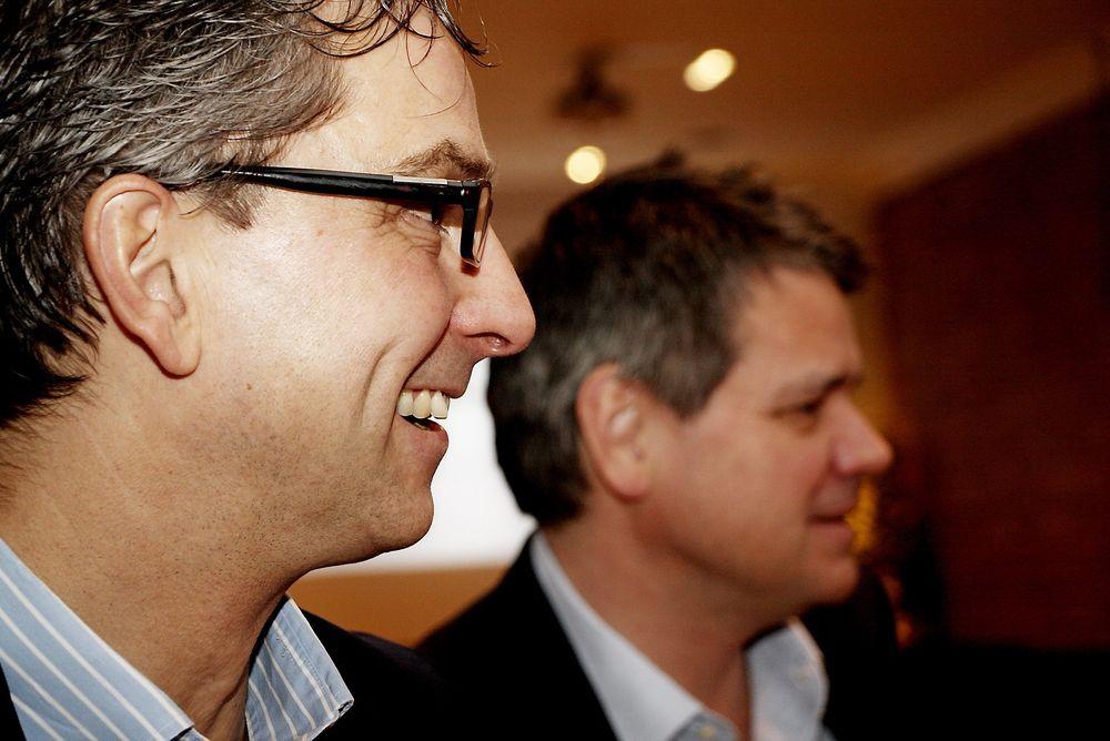 Microsoft-sjef Michael Jacobs (t.v.) og konsernsjef Torstein Harildstad hos Software Innovation tar initiativ til et samarbeid om innovasjon med stat og kommune.