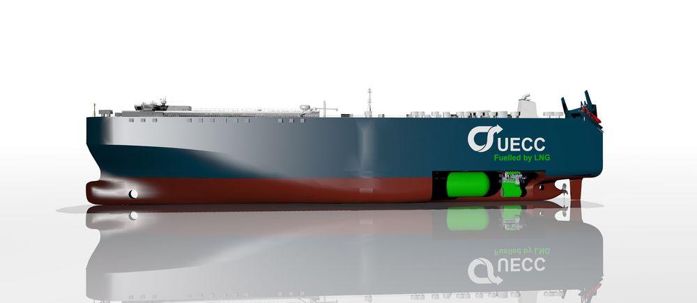 Isklar: De to LNG-drevne bilskipene til UECC kan ta 3800 biler og seile i Østersjøen året rundt. Skipene blir 181 meter lange, 30 meter brede og har 10 dekk. Levering 2016.