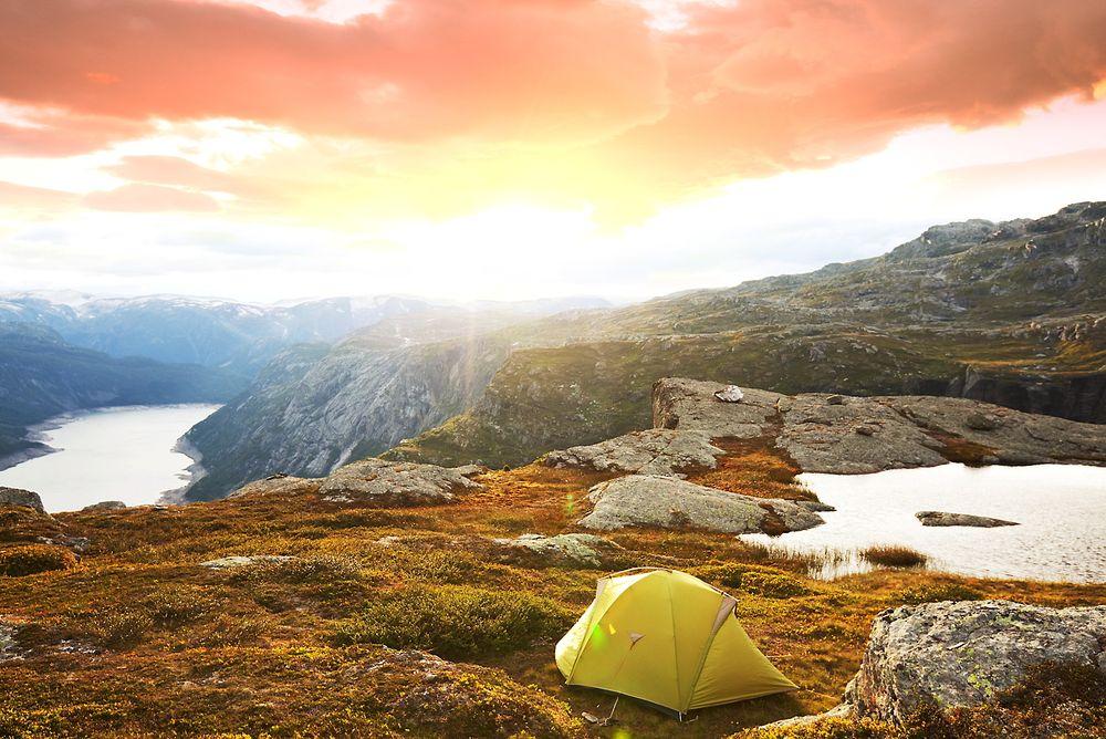 tent near canyon