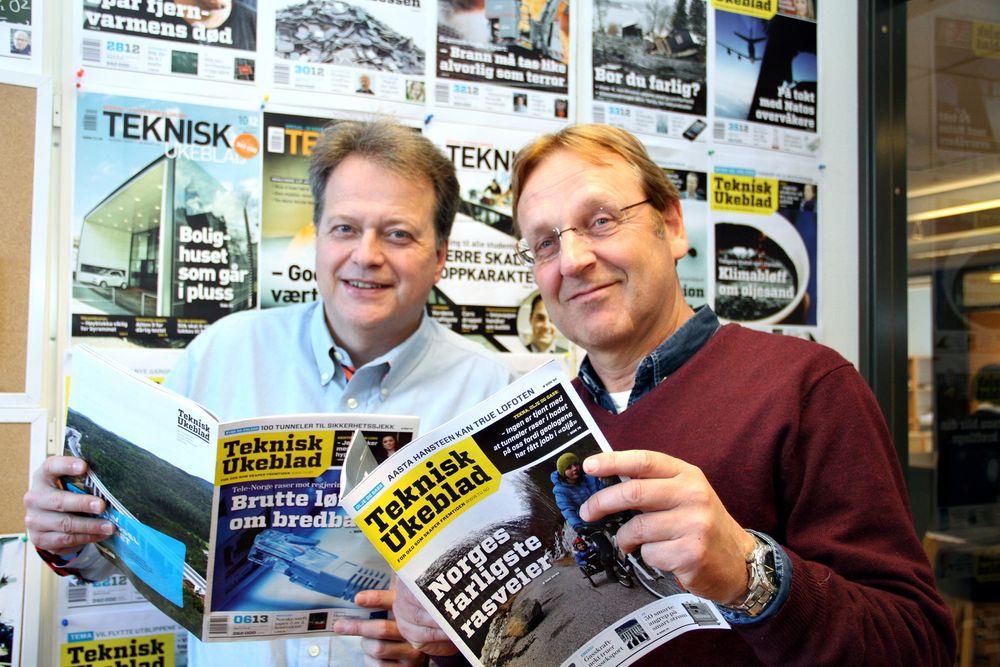 Fornøyde: Ansvarlig redaktør Jan M. Moberg og redaktør Tormod Haugstad gleder seg over at stadig flere velger å lese Teknisk Ukeblad.   foto: Joachim Seehusen