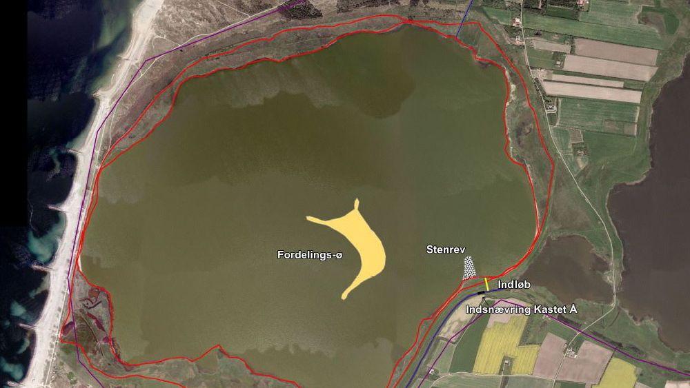 En kartskisse fra et utkast til forundersøkelsen viser hvordan den kunstige øya kan se ut.